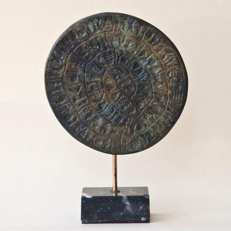 Phaistos Disc Metal Sculpture, Minoan Crete