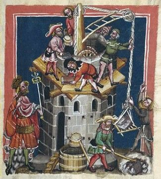 Illustration from Rudolf von Ems's World Chronicle MS. 33 folio 13. Germany (Regensburg), circa 1400–1410. The J. Paul Getty Museum.