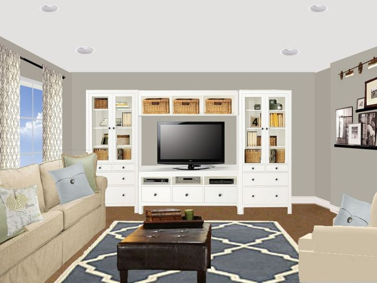 Small Compact Family Room Great Virtual Room Painter Ideas In 3D View Finished With Multimedia Entertainment System Idea