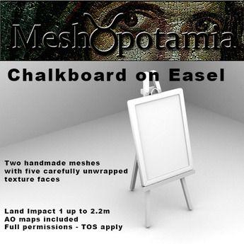 Meshopotamia Chalkboard on Easel w 2 sets of AO Textures