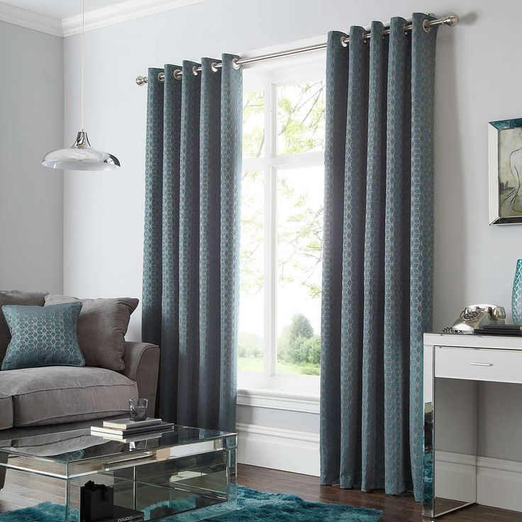 Geo Teal Lined Eyelet Curtains | Dunelm Part 51