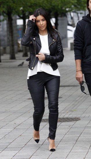 Kim Kardashian, that jacket.... leather love!!