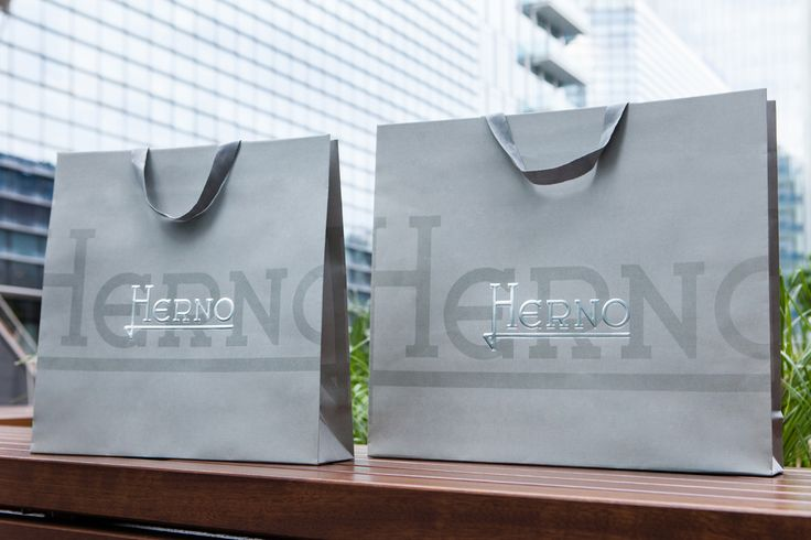 Herno, grey paper shopper with cotton handles