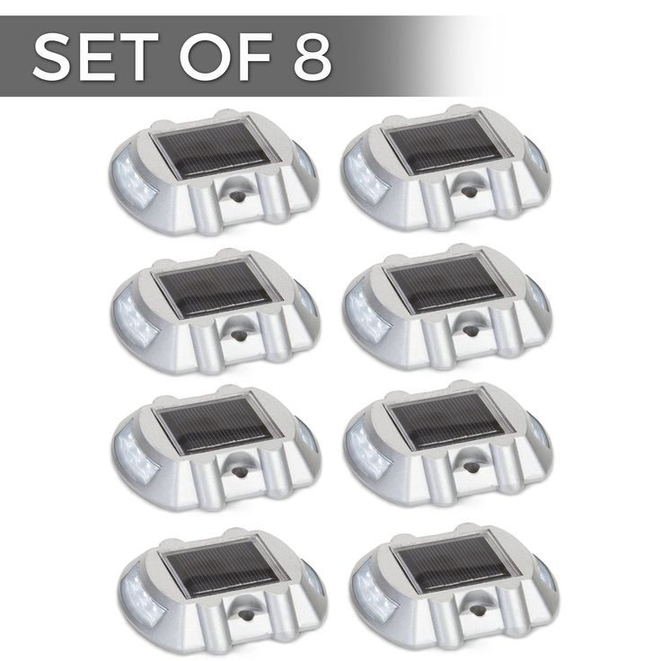 Solar Powered LED Marker Lights- Set of 8- Decorative Aluminum Lamps- Wireless Outdoor Security Light- Garden Decor Accent Lighting- Best for Driveway, Dock, Stairway, Path, Deck, Step, Pool, Patio