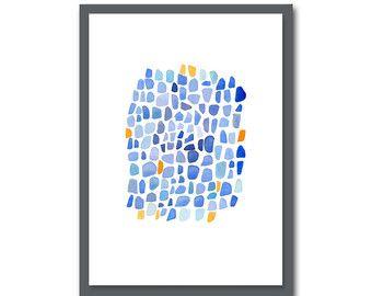 Cobalt Blauw Abstract aquarel schilderij blauw oranje aquarel print nautische home decor zee glaskunst