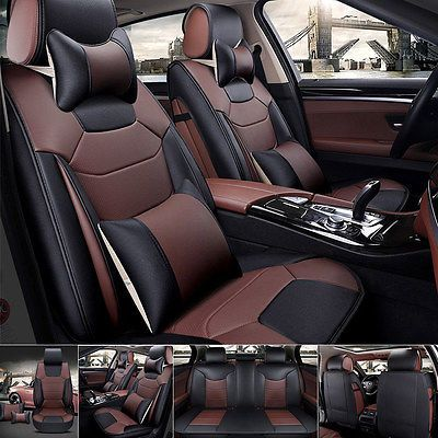 US Mircrofiber Leather Seat Covers L Size 5 Car Front Rear Set BlackCoffee