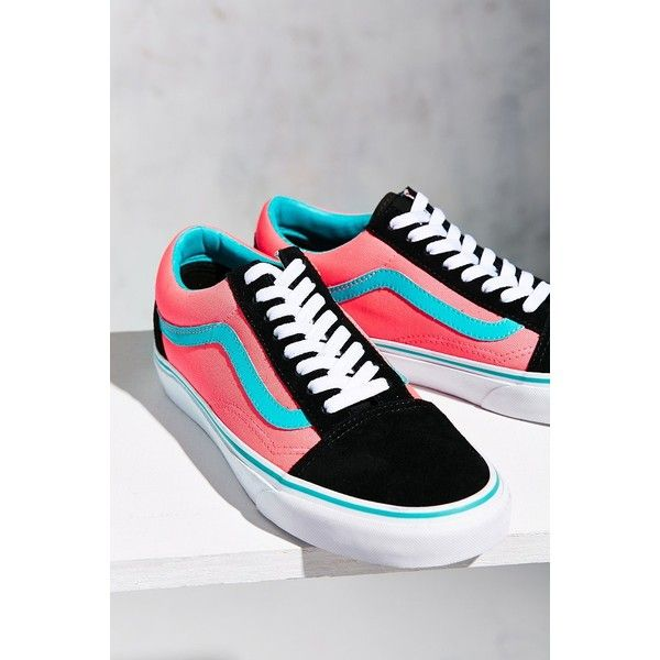 Vans Brite Old Skool Sneaker ($60) ❤ liked on Polyvore featuring shoes, sneakers, bright pink sneakers, vans footwear, fluorescent shoes, neon pink shoes and vans trainers