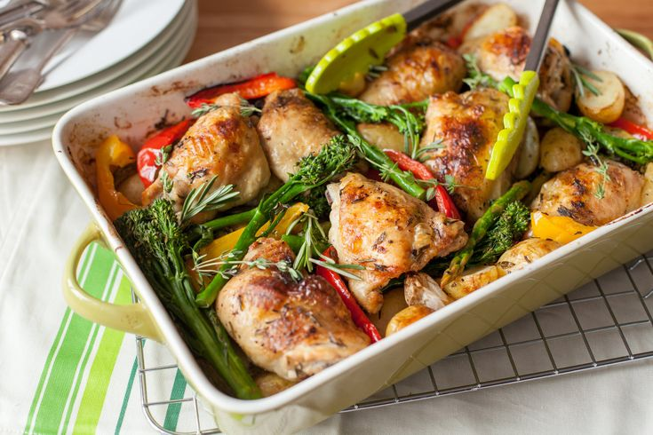 This is an easy almost hands-off all-in-one meal perfect for feeding a group of family or friends. You can use any vegetables you prefer so it's perfect for any season. Get the full recipe here http://www.ilovecooking.ie/recipe/chicken-thigh-veggie-bake/