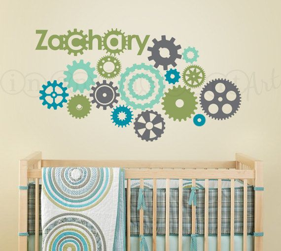 Cogs, Wheels and Gears Wall Decal, Gear Wall Decal for Nursery, Kids, Childrens Room 075 on Etsy, $41.00