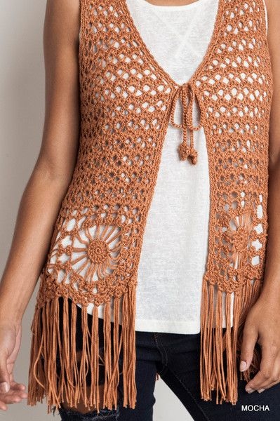 Sleeveless Crochet Fringed Vest Bohemian Clothing The