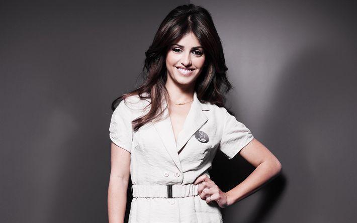 Download wallpapers Monica Cruz, Spanish actress, 4k, portrait, latin woman, smile, white dress