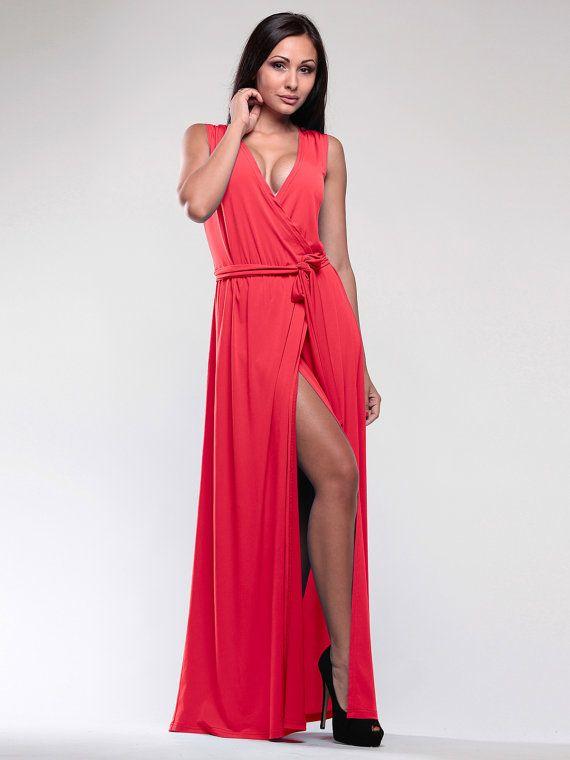 Red Maxi dress  Sleeves dress  Summer women dress  by Annaclothing