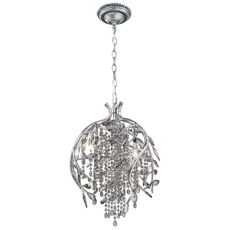 $1039 - Golden Lighting Autumn Twilight Mystic Silver Pendant Light | 9903-3P MSI | Destination Lighting