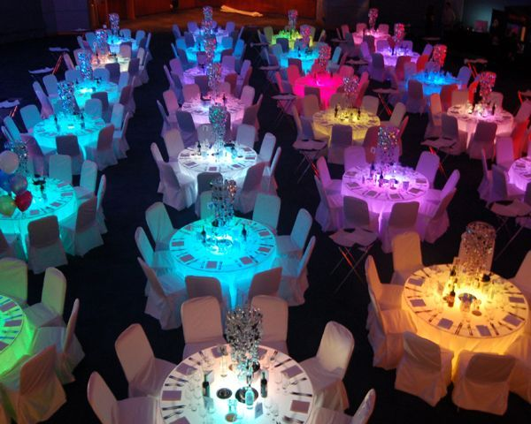 Lighted Tables For Reception Rainbow Wedding Dresses