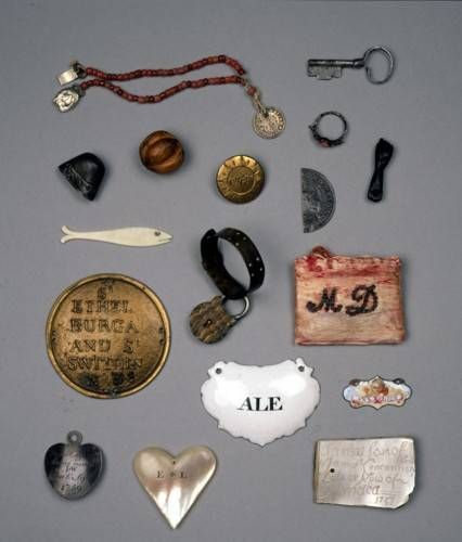 Tokens given by mothers to their children on leaving them at the Foundling Hospital. 18th Century