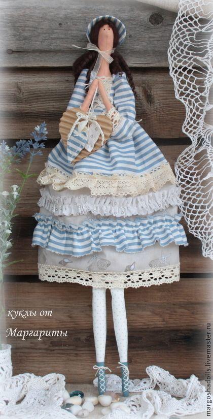 Кукла тильда Луиза-Виктория. - голубой,бежевый,полоска,морской стиль,ретро стиль