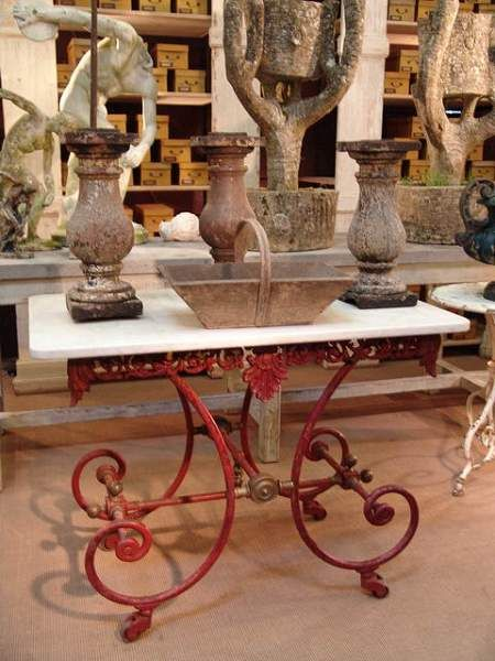 1850 Antique French Butcher Table in Rare Original Red Patina. A true French classic!
