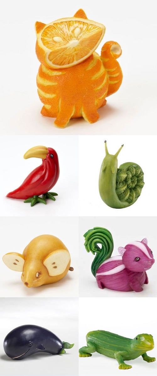 Food Art: orange cat, asparagus snail, and onion skunk. Bring these fruit and vegetable kitchen animals to life with your kids the next time it rains.