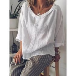 Plus Size Women Long Sleeves Round Neck Loose-Ness Fit Shirt Tops