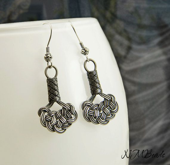 Pure Silver Celtic Knot Dangle Earrings by NMBeadsJewelry