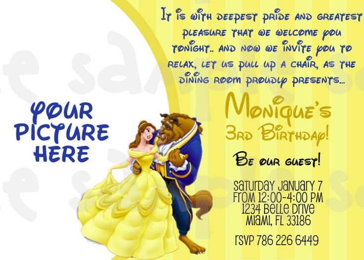Beauty and the Beast Birthday Invitation by HeartsandScraps, $11.00