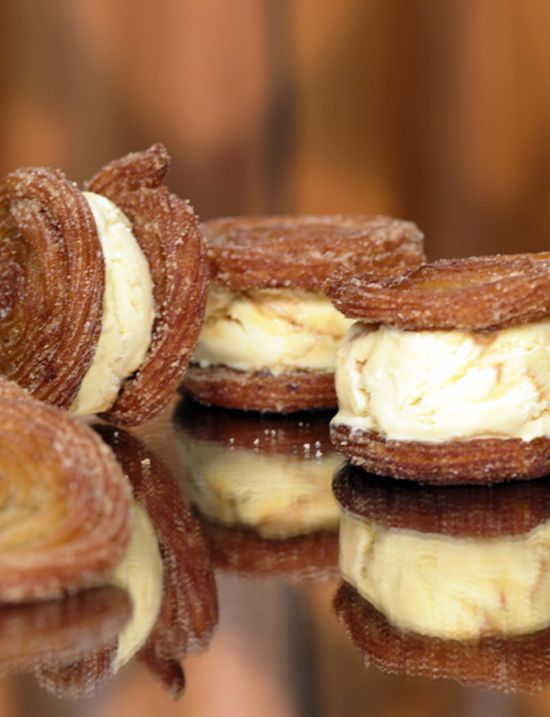 Churros Ice Cream Sandwiches: One part chewy, cinnamon-sugar-crusted churro and one part dulce de leche ice cream, they're like a fiesta in your mouth.