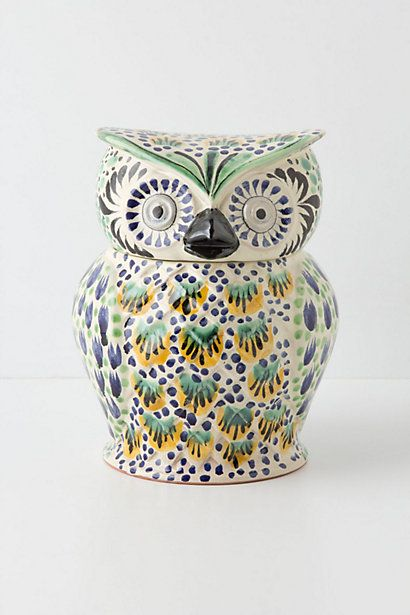 Handpainted Folk Owl Cookie Jar ~ This One Has The Colors In My Kitchen!
