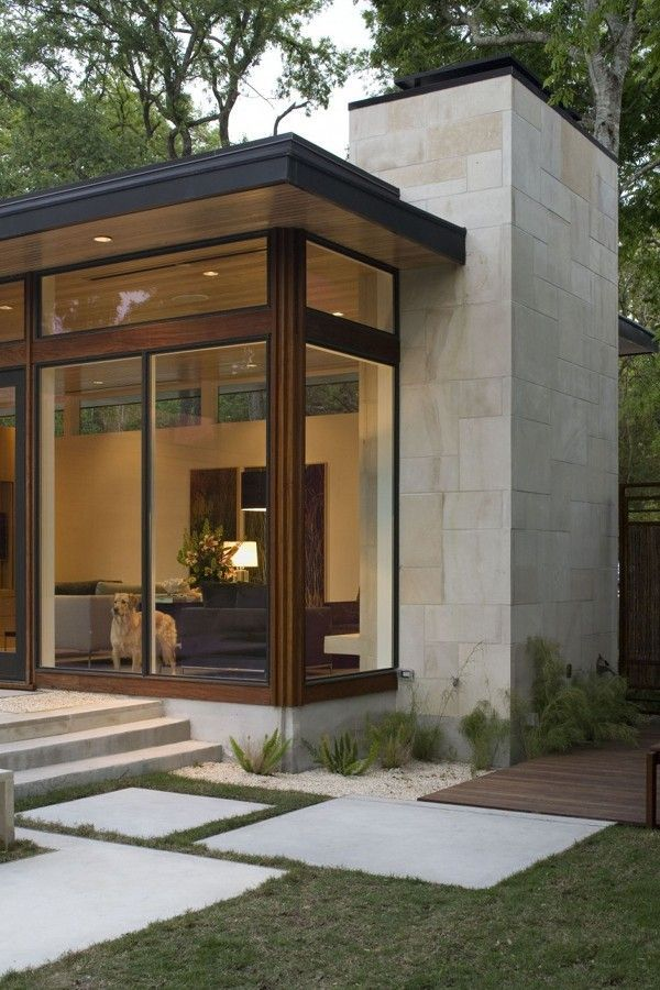Brian Dillard Architecture - The Dry Creek House  This is it!! This stone with dark wood. Warm and inviting, yet sleek!: