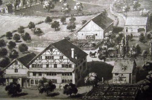 1830 scarce aquatinta of Gyrenbad TURBENTHAL Canton of Zürich