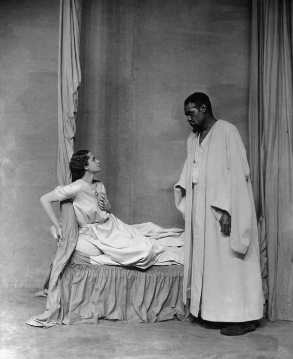 Paul Robeson as Othello and Peggy Ashcroft as Desdemona in a 1930's London Production of Othello   [photographer unknown]