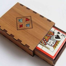Wooden box of playing cards - NZ playing cards box inlaid with suits motif