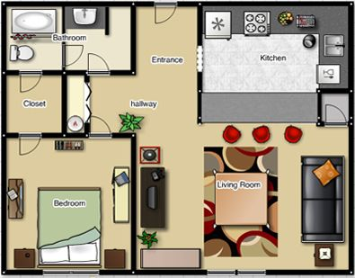 287 best images about small space floor plans on pinterest for Small 1 room flat