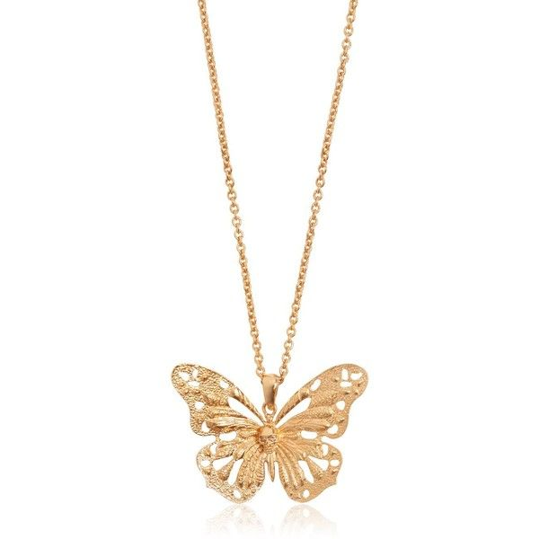 ALEXANDER MCQUEEN Butterfly Pendant Necklace - Gold found on Polyvore