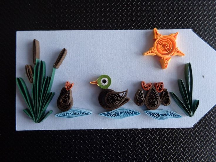 Quilled CatTail and Ducks Tag by Karen Miniaci. Quilling Supplies from 'Quilled Creations'