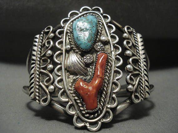 Gran Carlin Navajo Vintage Plata Coral turquesa de la Zig Zag pulsera
