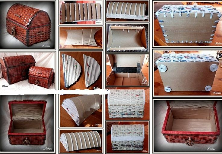 DIY. TUTORIAL de cofre con el reciclado de papel y carton