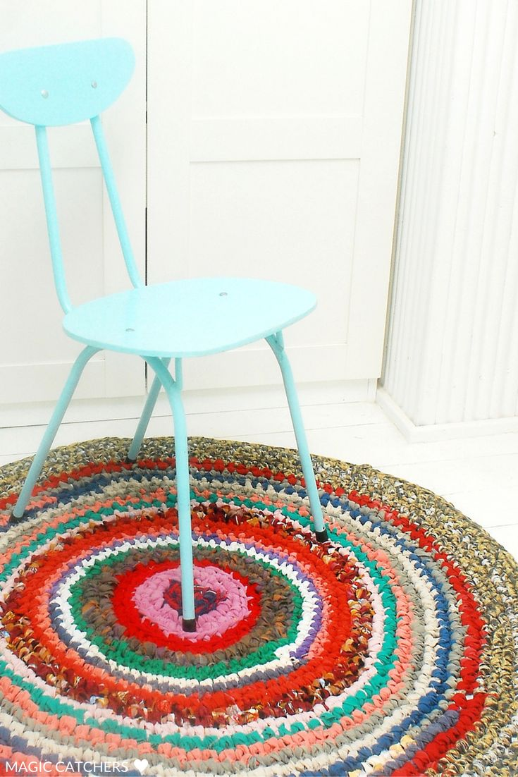 Crochet colorful country style rustic rug hand made by Magic Catchers.