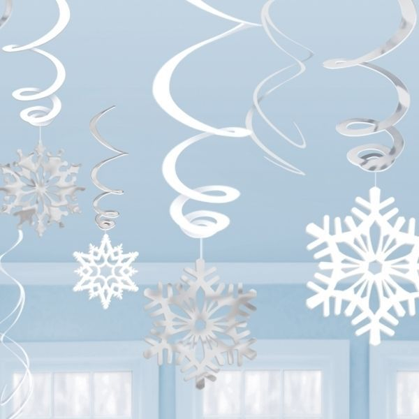 12 SNOWFLAKE CHRISTMAS WINTER WOUNDERLAND HANGING SWIRL DECORATION FROZEN PARTY in Home, Furniture & DIY, Celebrations & Occasions, Party Supplies | eBay
