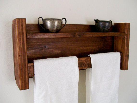 bathroom shelves towel rack towel bar bathroom shelf wood shelf - Bathroom Towel Holder