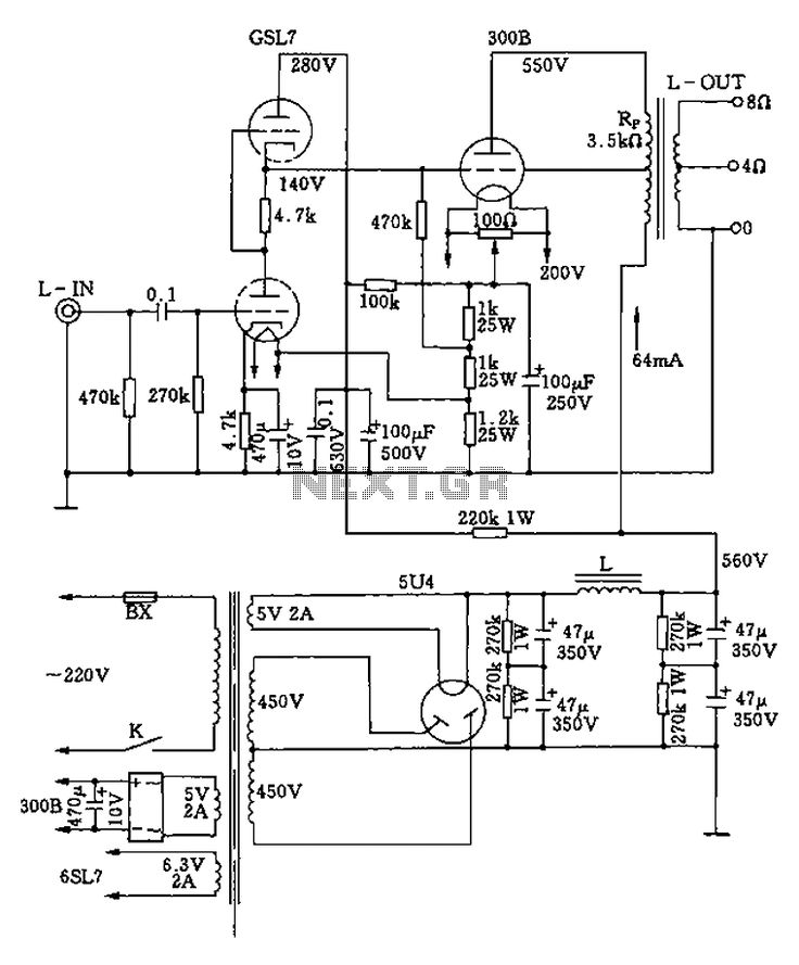 300b Tube Single Ended Class A Amplifier Circuit Diagram
