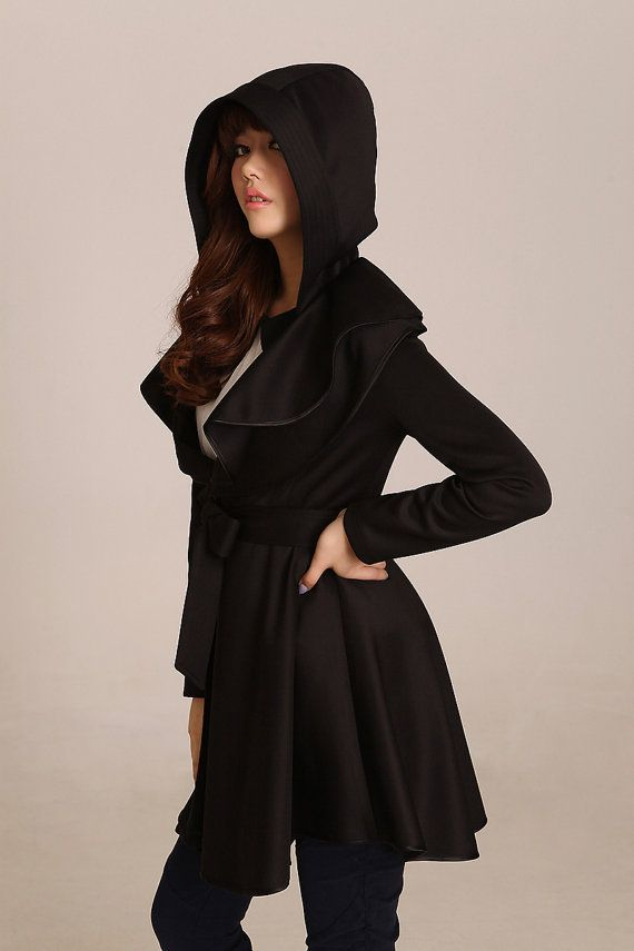 Women's a-line hooded coat trench coat long coat spring ...