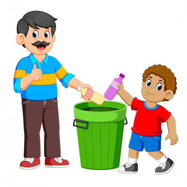 Father And His Son Collecting Rubbish Plastic Bottle In 2021 School Creative Art Drawings For Kids Father Images