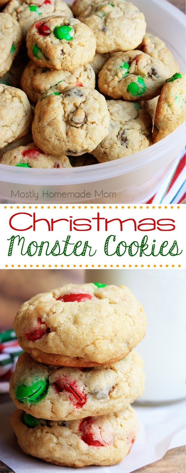 Christmas Monster Cookies - uses peanut butter cookie mix, sugar cookie mix, oats, and festive M&M's for a one-bowl batch of cookies baked up in no time!