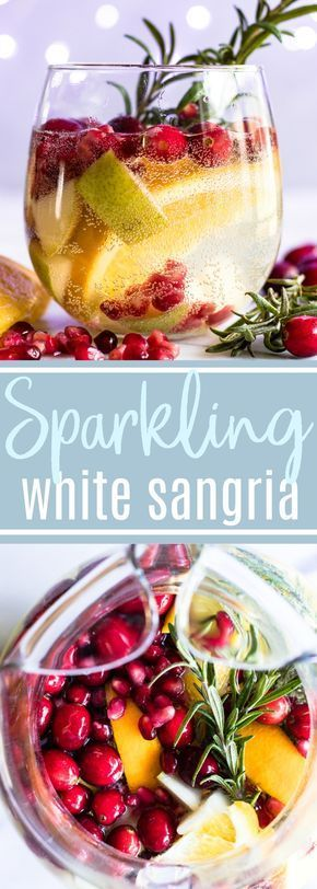 Sparkling White Sangria. This festive drink is super easy to put together and definitely makes a statement. Loaded with cranberries, pears, and oranges this drink is perfect for celebrating the Holidays! #sangria #cocktail #drinks #christmas