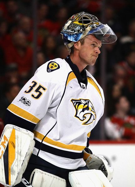 Pekka Rinne Photos Photos - Pekka Rinne #35 of the Nashville Predators rests during a break in the acion against the Chicago Blackhawks in Game One of the Western Conference First Round during the 2017 NHL Stanley Cuo Playoffs at the United Center on April 13, 2017 in Chicago, Illinois. The Predators defeated the Blackhawks 1-0. - Nasvhille Predators v Chicago Blackhawks - Game One