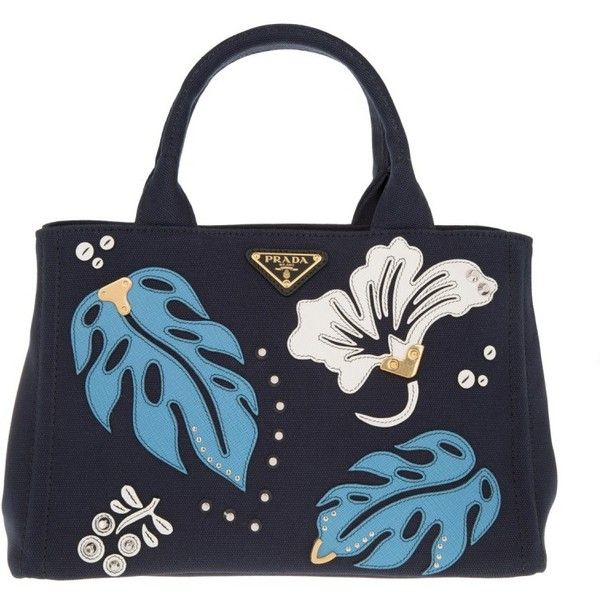 Prada Shoulder Bag - Canapa Hawaii Shopping Bag Baltico + Mare - in... ($820) ❤ liked on Polyvore featuring bags, handbags, shoulder bags, canvas shoulder bag, canvas shopping tote, blue canvas tote bag, prada tote and canvas shopping bags