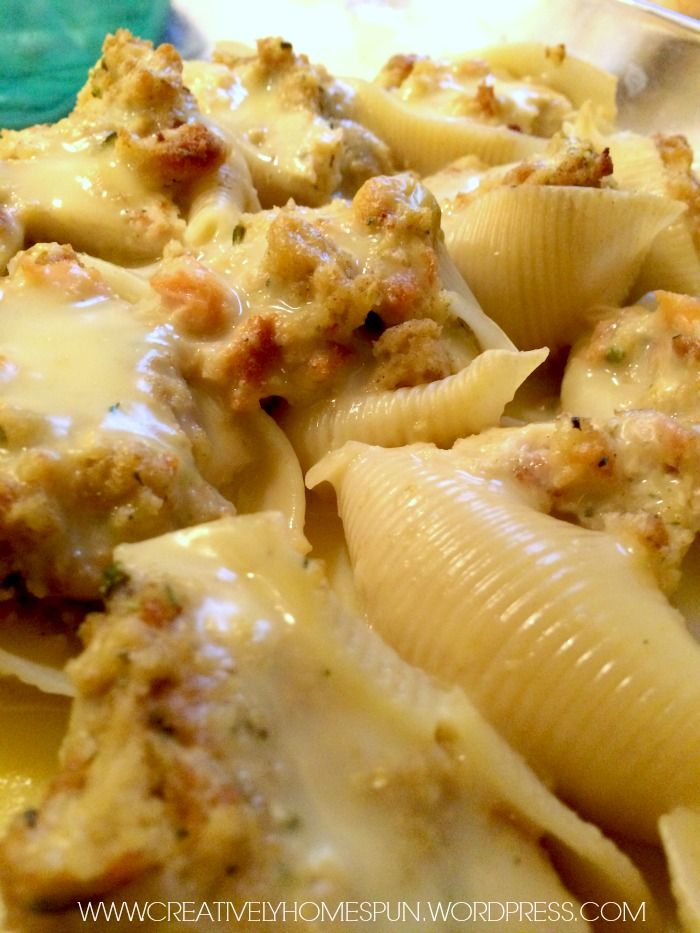 OMG stuffing stuffed shells with cream of chicken/milk sauce
