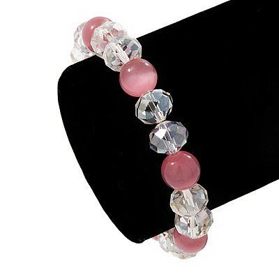 "Pink/Transparent Glass Bead Flex Bracelet - 18cm Length Avalaya. $11.88. Occasion: anniversary, casual wear, cocktail party. Material: glass. Length: 18.0cm (7.09""). Wear On: wrist. Type: bead jewellery, stretchy"