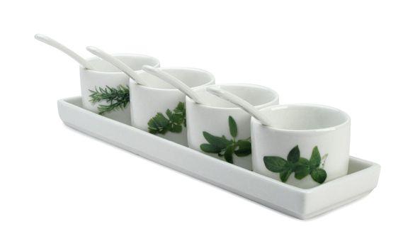 Set di 4 ciotoline tonde e 4 cucchiaini in ceramica