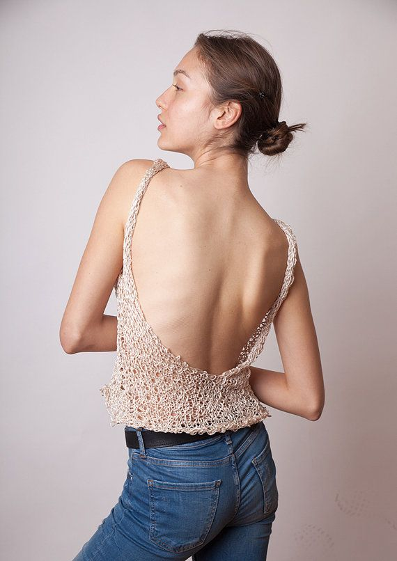 Check out this item in my Etsy shop https://www.etsy.com/listing/271171156/sexy-tank-top-open-back-loose-knit-women